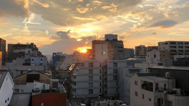 Kyoto sunset as viewed from my apartment