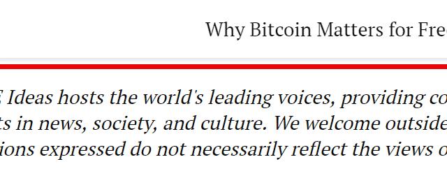 「ビットコインは自由にとって大事だ」と米タイム誌は力説していない